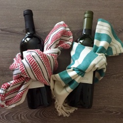 Wine and Dish Towel Hostess Gift